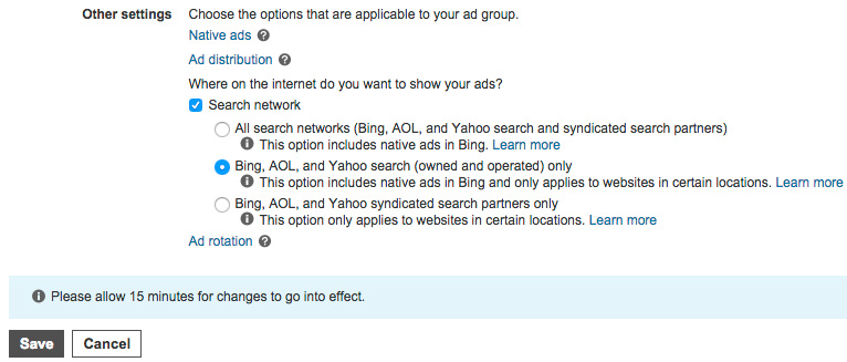 Screenshot of Bing Ads settings